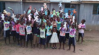 The kids received homemade bears from the Gateway group!